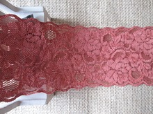 Wholesale lot Dark red flower pattern Elastic stretch lace trim DIY sewing headband 7cm(China)