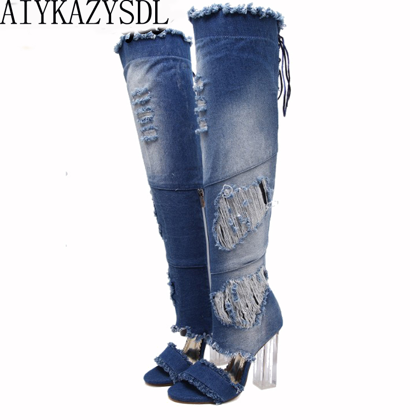 AIYKAZYSDL Women Over The Knee Thigh High Denim Boots Open Toe Transparent Block Thick High Heel Pumps Gladiator Sandals Shoes<br>