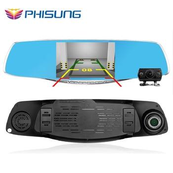 Dual Camera lens Review Mirror Car DVRS FHD 1080P G-Sensor Motion Dection car video recorder dvr parking Metal frame 4.3 inch