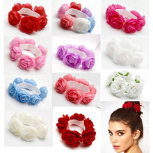 Buy 2016 Fashion Hair Accessories Flower Bun Garland Floral Head Knot Hair Top Scrunchie Band Elastic Bridal Women Ponytail Holder for $1.45 in AliExpress store