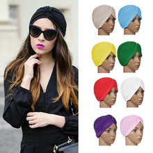 Fashion Women Wrap Hat Beret Boina Top Quality Candy Color Stretchy Turban Sleep Beanie Skullies Pleated Indian Cap