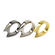1 Piece Punk Cool Cat Ear Self Defence Finger Ring For Men Women Multifunction Outdoor Survival Tool Jewelry(China)