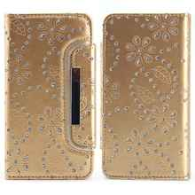 Brand Sparkle with Rhinestone Split Case for Samsung Galaxy S6 Edge Vintage Leather Flip Wallet Cases for Galaxy S6 Edge Capinha