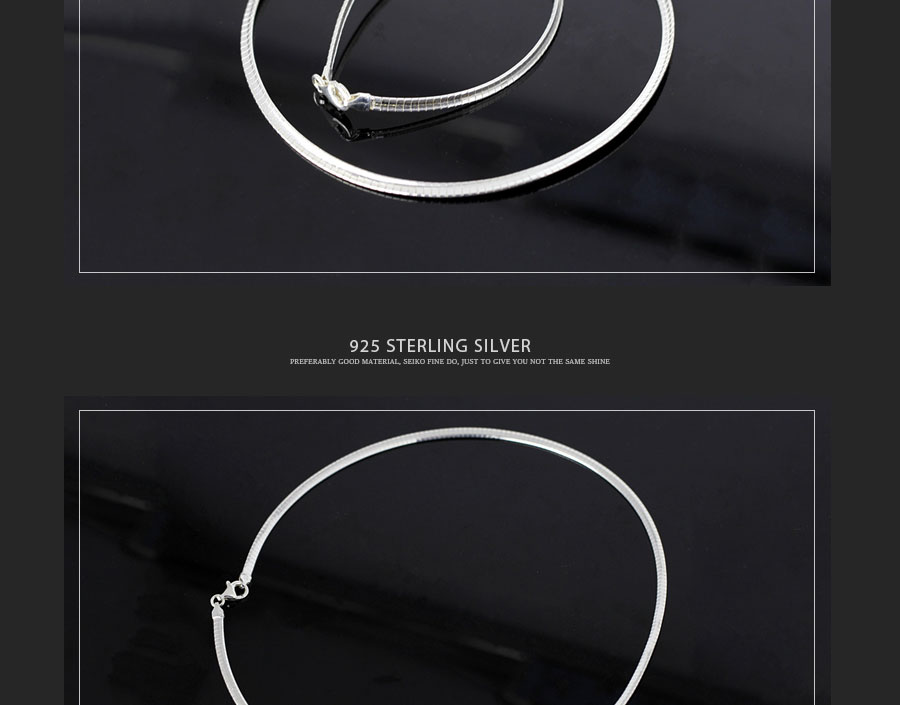 100% Real Sterling Silver Necklace Minimalism Torques Choker Necklace For Women Girl Snake Chain Fine Jewelry New Arrival SN16