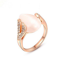 Top Quality Big Nice Opal Ring Three Time Of Gold Platng Jewelry For Woman Girl Brand Design Ring For Birthday Gift