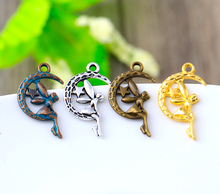 25*15mm 24pcs/lot New Fashion Antique Silver Bronze Gold Copper Color Plated Handmade Charms Pendant Moon Girl Angel Accessories