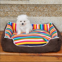 Rainbow Stripe Dog Kennel House Warm Small Medium Dogs Bed Mat Soft Sofa Pet Cat Bed Labrador Husky Satsuma Teddy Nest(China)
