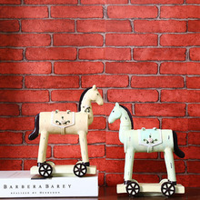 Creative Wooden Horse model Craft Furnishing Articles Home Decoration Miniatures Wood Painting Crafts New Year Christmas Gifts(China)