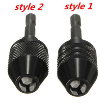 "Black 2 styles Keyless Drill Chuck Screwdriver Impact Driver Adaptor 1/4"" Hex Shank Drill Bits Diameter Power Tools"