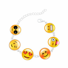 H:HYDE 2017 Newest Fashion Funny Custom Emoji Charm Bracelets For Women Men DIY Silver Plated Smiley Emoticon Beads Bracelets(China)