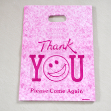 "Wholesale Hot Pink ""Thank You"" Design Plastic Bag 25x35cm 50pcs/lot Shopping Jewelry Packaging Plastic Gift Bags With Handle"