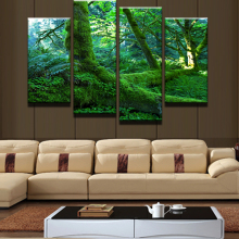 4 Panel Modular Picture HD Printed Green Tree Landscape Modern Home Wall Decor Canvas Picture Art Painting Canvas Frame Artwork