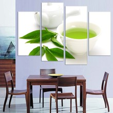 Buy JIE DO ART 4 Panel Canvas Kitchen Modern Wall Green Tea Painting Home Art Picture Paint Canvas Prints Decor for $7.08 in AliExpress store