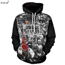 WZZAE Cool Hoodies 3D Print Michael Jordan Shoot A Buzzer Beater Graphic Sweatshirt Mens Long Sleeve Pullover Casual Streetwear(China)