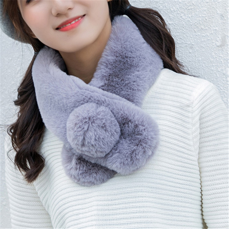 2019 Fashion Real Rex Rabbit Fur Scarf Autumn And Winter Fur Scarf Real Natural Rabbit Scarf With Ball Scarf Rabbit Fur Ring.