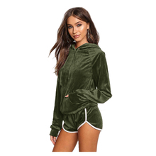 TFGS Women Sexy Sportswear velvet sports suit Hooded casual women's tracksuits two piece set Autumn Spring Shorts + pullovers(China)