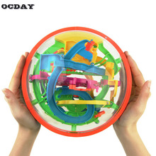 3D 100 Steps Labyrinth Magic Rolling Globe Puzzle Ball Marble Game Maze Magnetic Balls Funny Toy for Children Educational Toys(China)