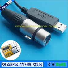 Sinforcon FTDI FT232R USB RS485 XLR 5 P женский сгм DMX512 Uploader кабель(China)