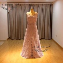 Lace Cap Sleeves V Neck Lavender Lace Evening Dress with Front Slit Low V Back Lace Party Dress with Sash(China)