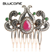 Blucome Vintage Flower Crown Hairwear Jewelry Turkish Antique Gold-color Metal Hair Combs Red Water Drop Resin Crystal Hairpins(China)
