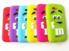 3D Cartoon M&M Fragrance Chocolate Rainbow Beans Soft Silicon Case For Alcatel One Touch Pop C7 Silicone Cover Cell phone cases