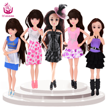 5 Different Style Doll Fashion Dolls Realistic Eyes Beautiful Dress Toys Best Gifts 12 Moving Joint Body Brinquedos for barbie