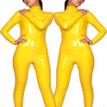 Buy High Spandex Plus Size XS-3XL Clubwear Fetish Vinyl Latex Catsuit Sexy Faux Leather Bondage Costume Erotic Wetlook Bodysuit