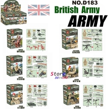 6pcs WW2 World War 2 UK British Army Battle on Rhine River fire weapon building blocks model bricks Baby toys for children(China)