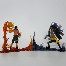 One Piece Action Figure Ace vs Teach PVC 150mm Fire Devil Fruit DXF One Piece Anime Model Toys