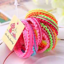 100pcs/lot Wholesale Super great elasticity Double lace Hair accessories for girls kids rubber bands(China)