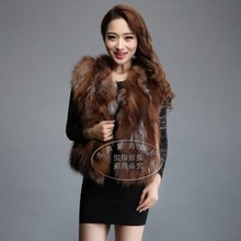 Genuine red fox fur vest female short design vest natural color 50cm long  waistcoat outerwear