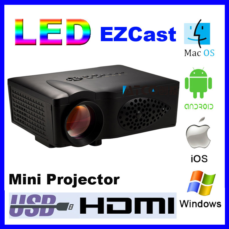 1600Lm HD Multi-Media Support DLNA miracast airplay EZCast HDMI Home Theater 3D mini LED wifi display Projector Proyector Beamer<br><br>Aliexpress