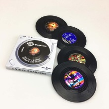 4pcs Spinning Retro Vinyl Record Drinks Coasters Cup Mat Creative Decor Coffee Placemat