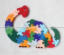 New Wooden Dinosaur Puzzle Toy English Letters Digital Cognitive Educational Toys For Kids 70517054 KTK