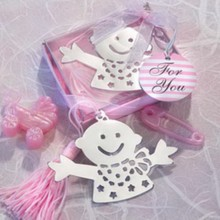 (100pcs/Lot)FREE SHIPPING+Baby Christening Gift Baby Design Bookmark in Pink Gift Box Birthday Party Giveaway Shower(China)