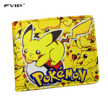 FVIP Nintendo Game Pocket Monster Charizard Pikachu Wallet Poke Wallets Cute Cartoon Billetera For Leather Money Bag Purse
