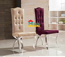 European fashion high back drill stainless steel chair. New classical eat desk and chair C76 flannelette chair