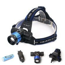 Professional CREE T6 Headlamp Waterproof 5 Color Light 5 Mode Headlight Zoomable Flashlight Bike Light Head Light with Battery