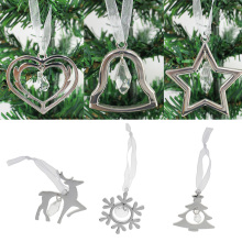 Silver Alloy Crystal Hanging Ornament with Ribbon Xmas DIY Home Tree Decorations Christmas Tree Ornament Supplies Accessories