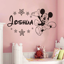 Free shipping Creative cute Mickey Mouse Custom Kids Name baby wall stickers for kids rooms home decoration wall stickers