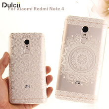 DULCII Soft Case for Xiaomi Redmi Note 4 Clear IMD TPU Phone Casing for Xiomi Redmi Note4 Mobile Smartphone Cover Shell funda(China)