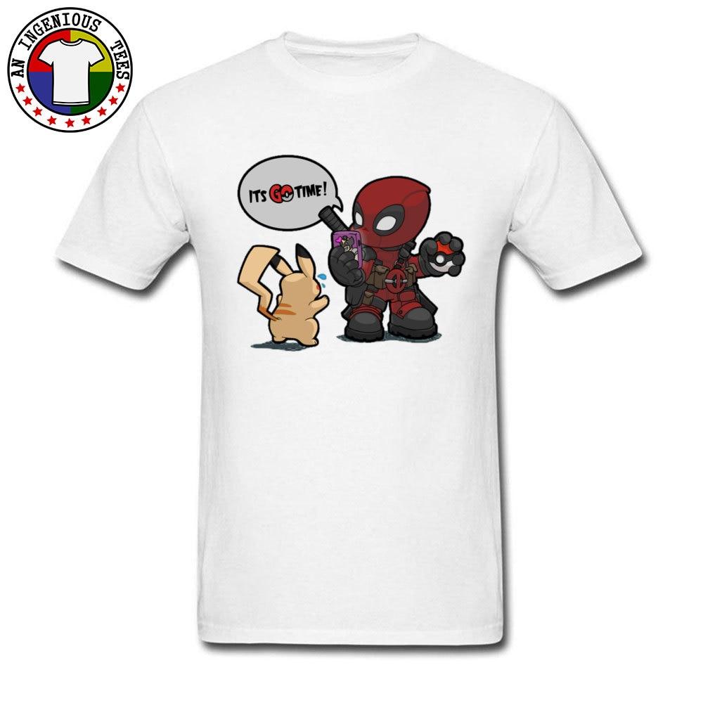Tops & Tees Deadpool Pokemon GO time 1226 Summer Short Sleeve 100% Cotton Crewneck Man Top T-shirts Leisure Clothing Shirt Plain Deadpool Pokemon GO time 1226 white