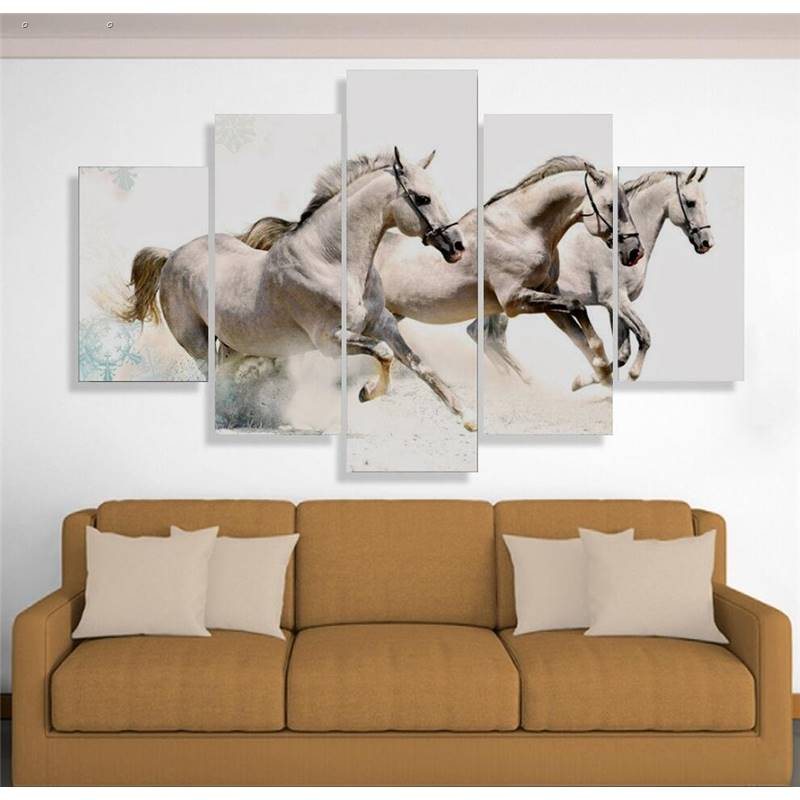 5 Panels Hd Printed 3 White Horse Wall Art Painting Canvas Print Room Decor Print Poster Picture Canvas P0438 vendor supplier(China (Mainland))