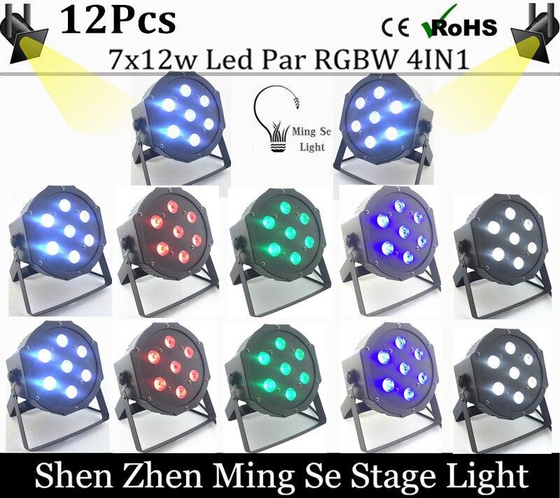 New Seller 12pcs /lots   7x12w led Par lights  RGBW 4in1 flat par led dmx512  disco lights professional stage dj equipment<br><br>Aliexpress