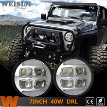 WEISIJI 1 Set/2Pcs 7'' LED Headlights for Jeep Wrangler Hummer Trucks Harley Motorcycle High/Low Beam with DRL Driving Light 40W