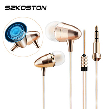 KST-X1 Golden Earphone 3D Metal Heavy Bass Sound Quality Earphones For Android/IOS Phones xiaomi iphone oppo PC With/Without Mic(China)