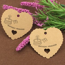 2017 new 200pcs DIY Heart-shaped Kraft paper Tag Baking  Listed Marks Marking cards Product card Hand Painted business tags