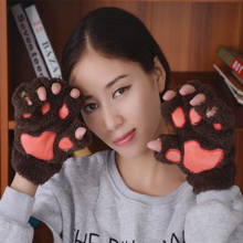 1Pair Lovely Women Gilrs Winter Warm Paw Gloves Fingerless Fluffy Bear Cat Plush Paw Soft Comfortable Party Vacation Gloves(China)