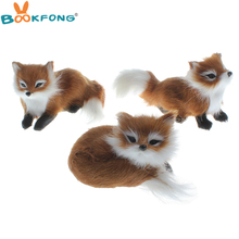 1Pc Simulation brown fox plush toy polyethylene & furs fox model home decoration birthday gift collection toy(China)
