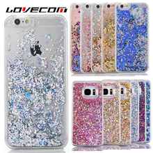 For iPhone 5S 6 6S 7 Plus For Samsung S5 S6 S7 Edge Cover Glitter Dynamic Liquid Diamond Quicksand Hard Transparent Phone Case
